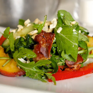 Green Salad with Bacon and Peaches.