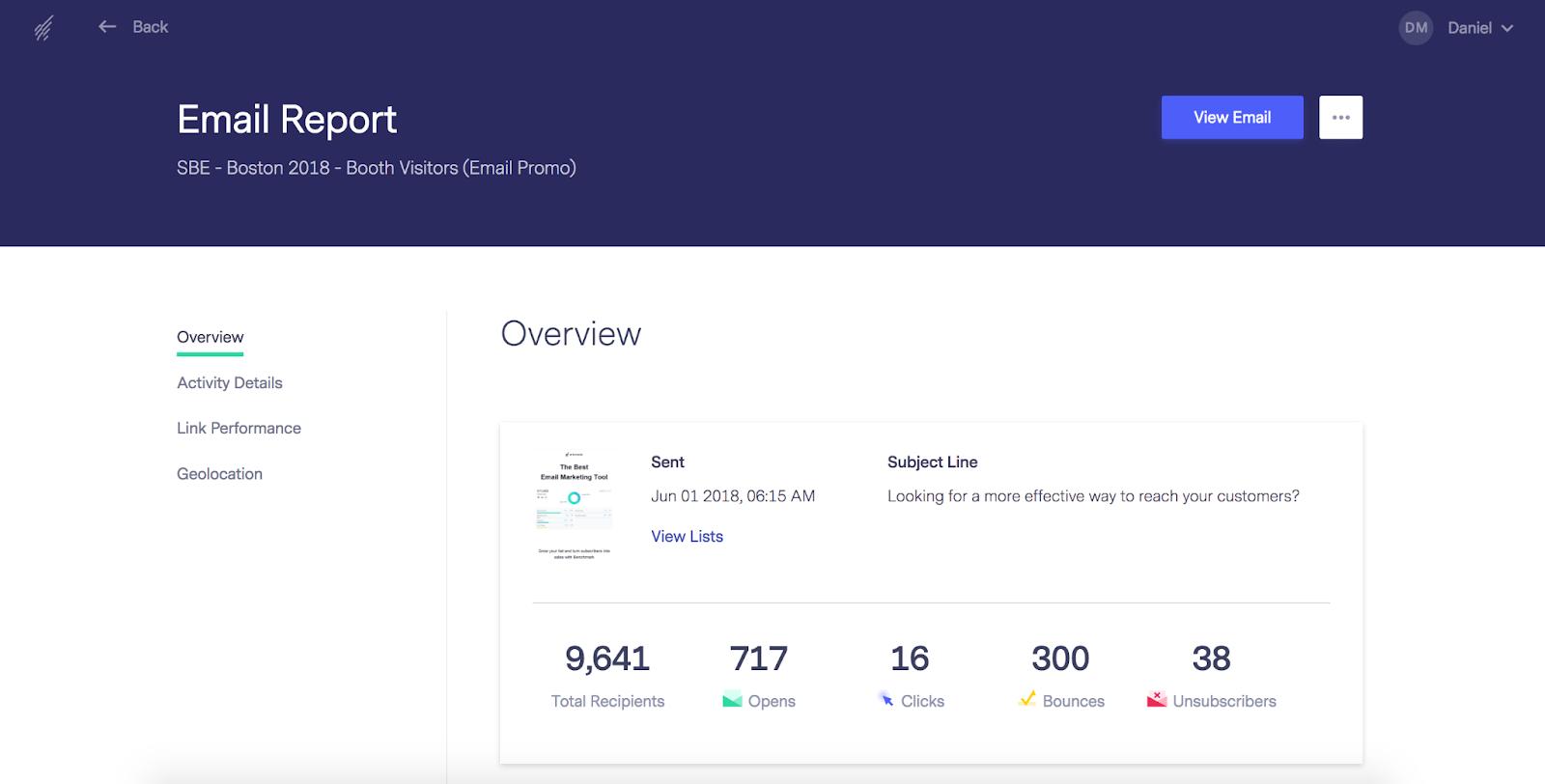Benchmark SaaS Email Marketing Tool
