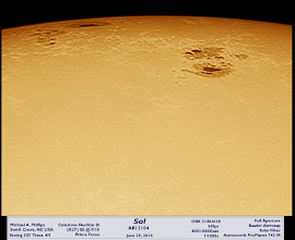 """Photo: I saw the sun today! My solar skills are lacking and equipment limited to the 8"""" f/10, white light and IR-Pass filter, but this came out ok I think..."""