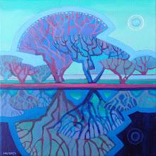 "Photo: Moonlight Sonata, acrylic painting 12"" x 12"" by Nancy Roberts, copyright 2015."