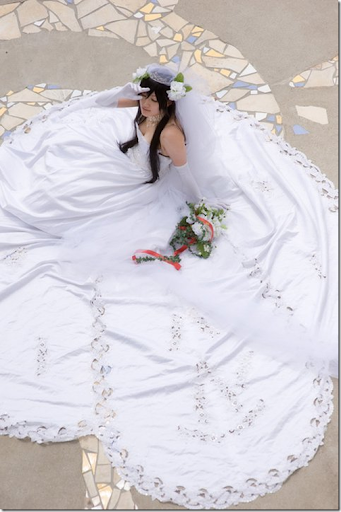 cosplayer saya in a wedding dress
