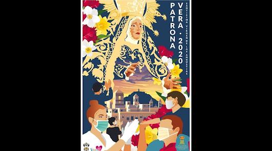 Un cartel histórico con mascarillas para anunciar las Fiesta de la Patrona