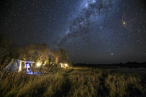 A starry night in tents on the banks of the Selinda Spillway.
