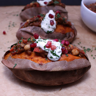 Chickpea & Lentil Chili-Stuffed Sweet Potatoes with Creamy Tzatziki