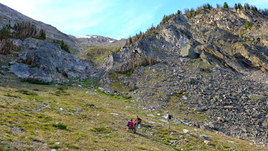 Photo: About an hour into the hike - A little rest before we headed up toward the patch of snow near the top of the gulley.