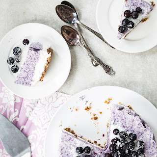 Vegan Blueberry Coconut Frozen Cake.