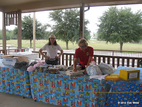 Photo: Gail Campopiano and Donna Greene setting up the consessions.  HALS 2012-0818 Rick White Photo