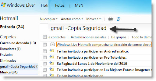 Google Backup gratis hotmail