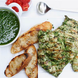 Garlic-and-Herb Grilled Chicken Breasts with Chimichurri Sauce Recipe