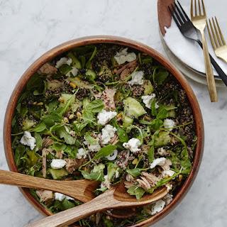 Tuna & Cucumber Quinoa Salad with Honey Mustard Vinaigrette.