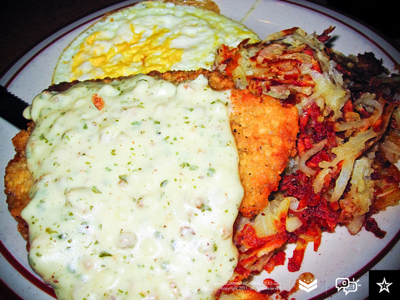 Chicken Fried Steak and Eggs - Brunch at Broken Yolk Cafe in Eastlake