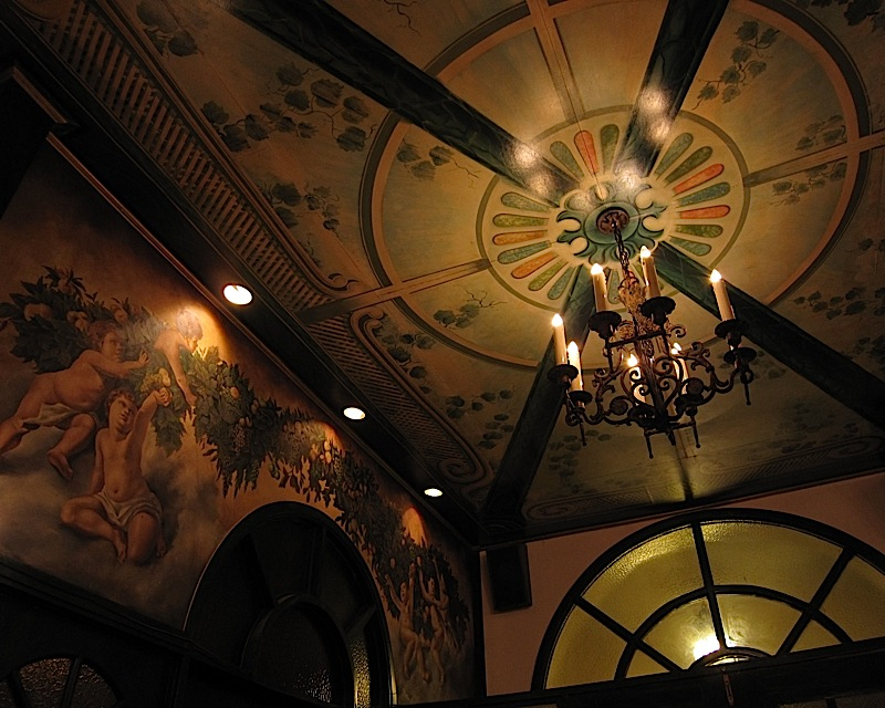 wall and ceiling of Café Ysabel's formal dining room in San Juan