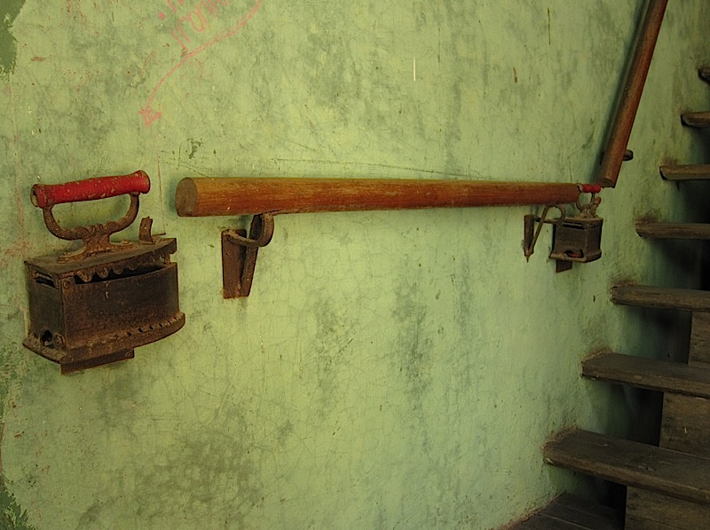 charcoal clothes irons used as banisters at Casa San Pablo