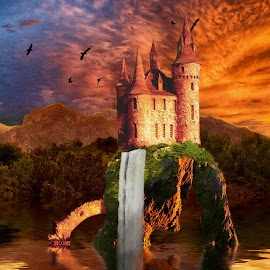Castle Lake by Charlie Alolkoy - Illustration Places ( clouds, water, sunset, lake, castle )