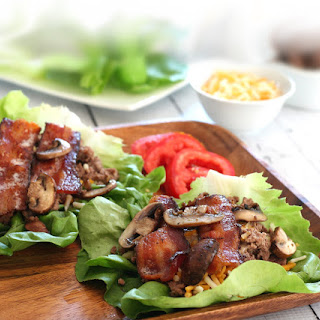 Low-carb Bacon Cheeseburger Wraps.
