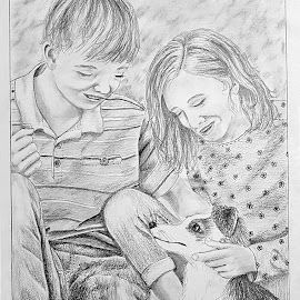 Teens and Dog by Ingrid Anderson-Riley - Drawing All Drawing
