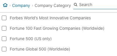 Linkedin category search