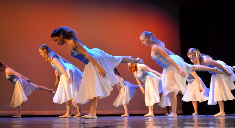 Dancers in arabesque