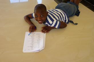 Photo: Winifrida doing the English test