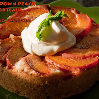 Upside-down Peach Shortcake with Whipped Cream