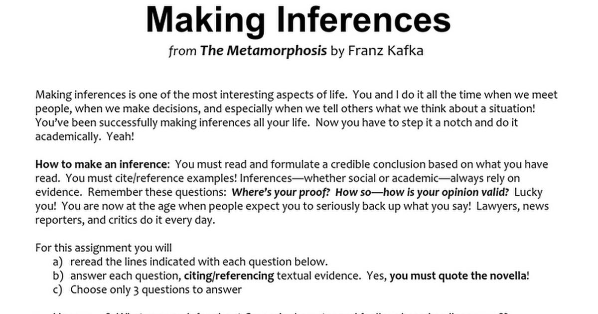 Metamorphosis Inferencescx Google Docs