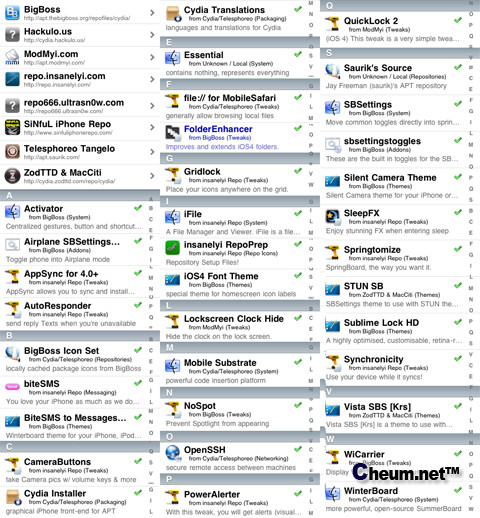 Cydia applications