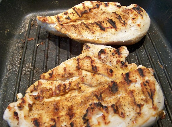 Take chicken breasts and rub with olive oil. Season with tony's seasoning, salt, pepper...
