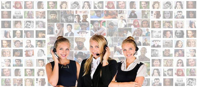 Call Center, Auricular, Mujer, Humanos