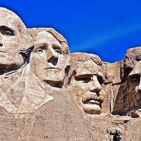 Mount Rushmore,South Dakota by Doug Wean - Landscapes Mountains & Hills ( sculpture, national park, presidents, sky, mountain, blue, south dakota, travel, landscape )