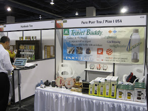 Photo: At the show we let people try some of our high quality puer tea, and we demonstrated the award-winning Piao I Travel Buddy® Infuser bottles and Piao I® teapots.