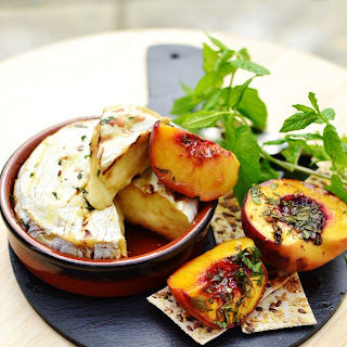 Baked Peach Camembert.