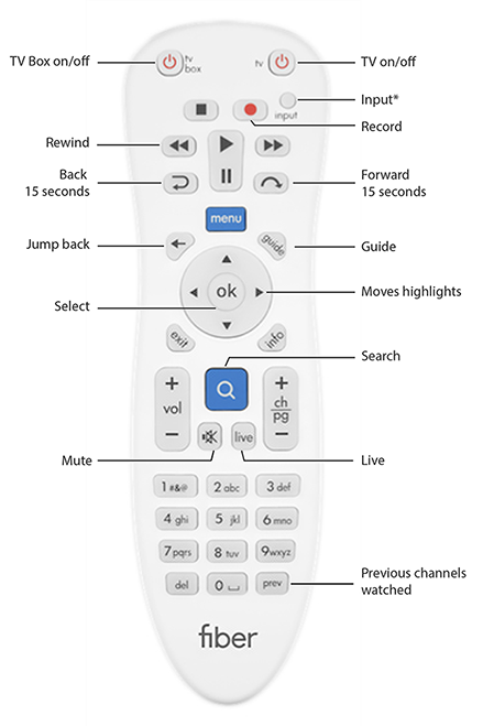 Google Fiber TV remote control button description