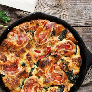 Parmesan, Spinach and Pancetta Bread Pudding