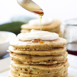 Zucchini Bread Pancakes with Maple Cream Cheese Topping