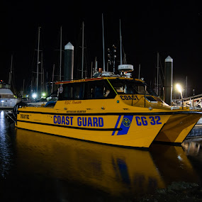 Coast guard by Mark Luyt - Transportation Boats ( harbour, yachts, coast guard, reflections, water, boat )