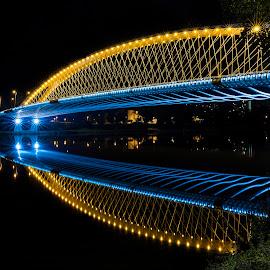 Troja bridge by Kristian Bathory - Buildings & Architecture Bridges & Suspended Structures ( bride, blue, tree, river, night photography )