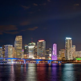 Skyline of Miami from Watson Island by Boyd Hendrikse - City,  Street & Park  Skylines ( skyline, sunset, florida, miami, night, watson island, usa )