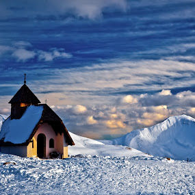 ski church by Dmitry Samsonov - Landscapes Mountains & Hills ( ski, church, colfosco, alta badia, chapel, dolomites, italy, alps )