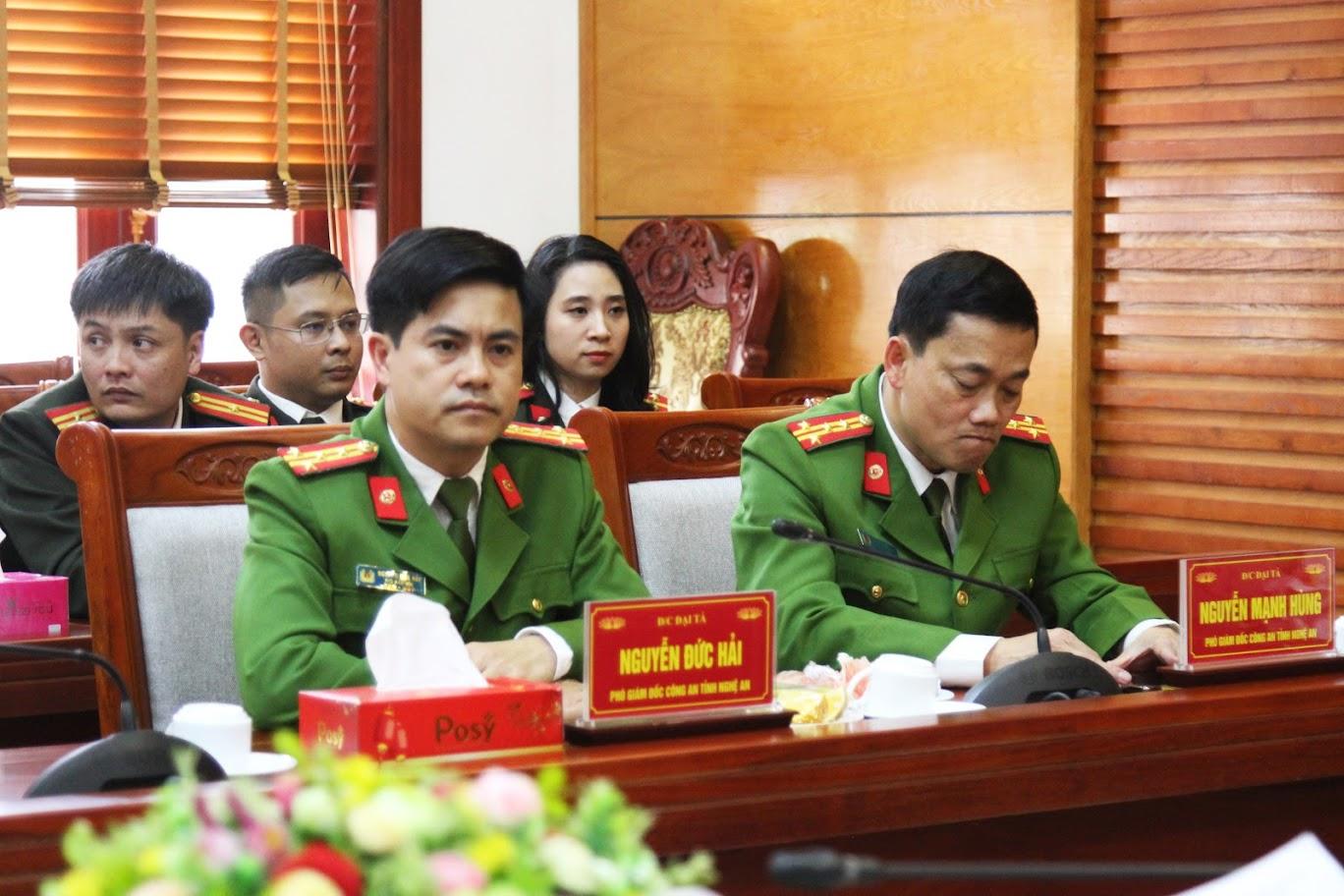 Các đồng chí Lãnh đạo Công an tỉnh tham dự buổi gặp mặt.