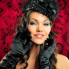 HI-Fashioned by Ron Plasencia - People Portraits of Women ( red, woman, ron plasencia, lady, gloves, black, portrait, hat )