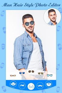 Men Hair Style Set On Face : Photo Editor - náhled