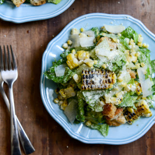 Roasted Corn Caesar Salads with Parmesan Greek Yogurt Caesar Dressing