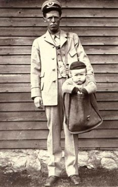 Diaper Changing Mailmen in 1913 - Postcard Friday #41