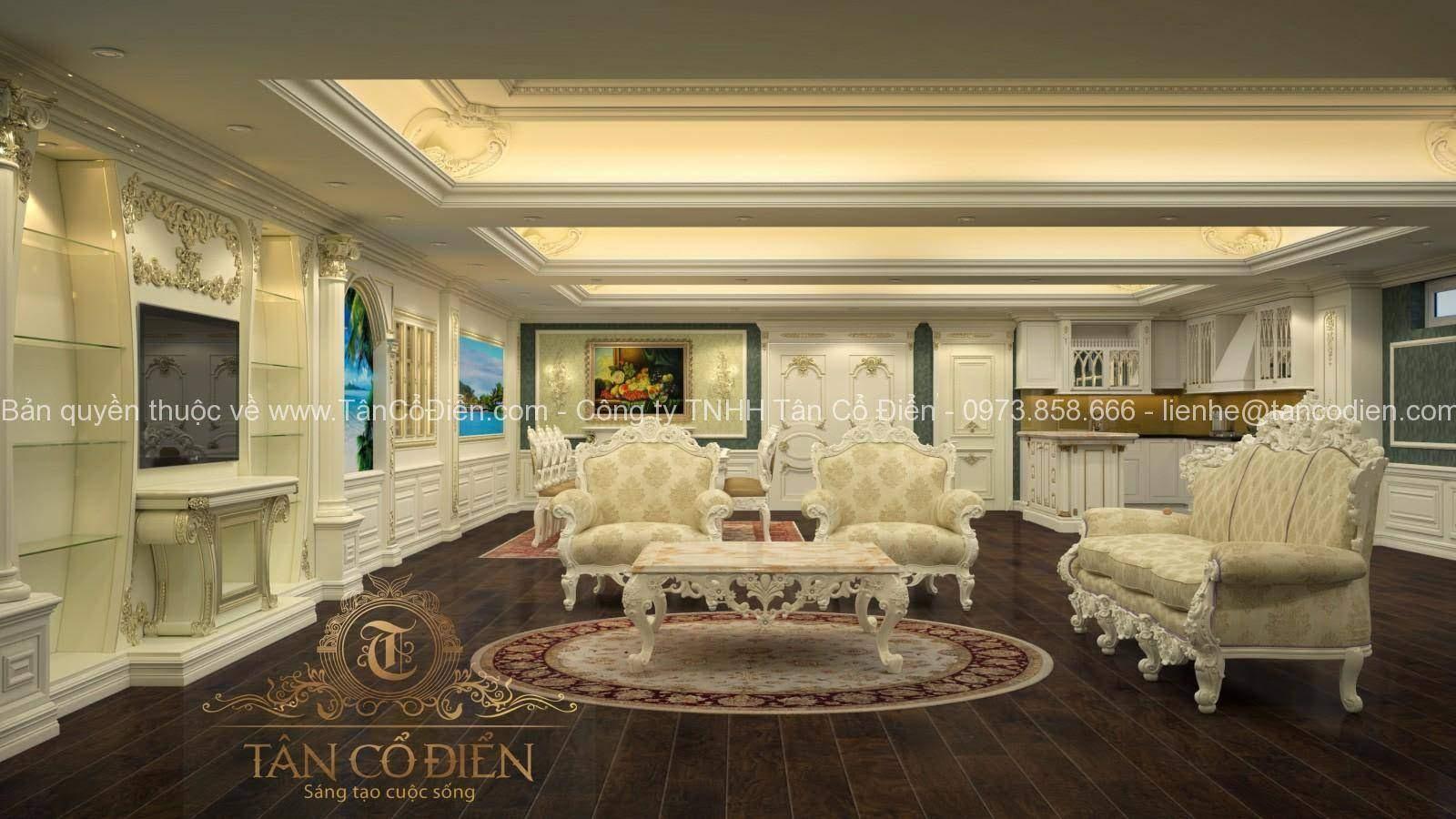 Phòng khách mang phong cách tân cổ điển sang trọng và đẹp