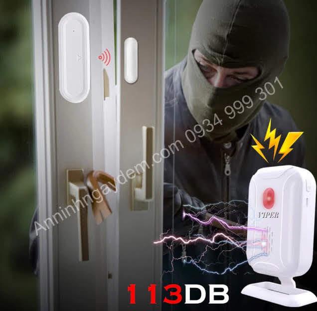 Chuông chống trộm gắn cửa loa rời (bộ 1 chuông báo và 2 gắn cửa)