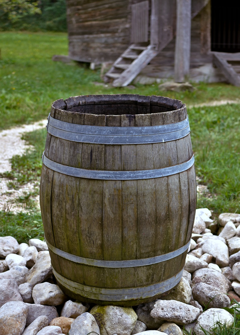 Wine barrels in your garden can help with water storage