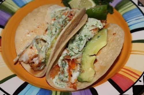"Blackened Tilapia Baja Tacos ""Excellent fish tacos! Very different from those I've..."