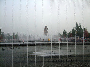 Photo: Water show in front of the Big Wild Goose Pagoda in Xi'an