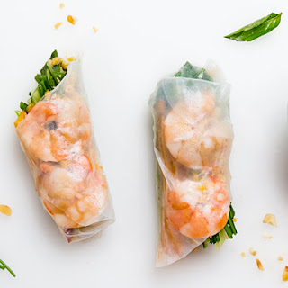 Summer Rolls with Lime-Cured Shrimp and Peaches