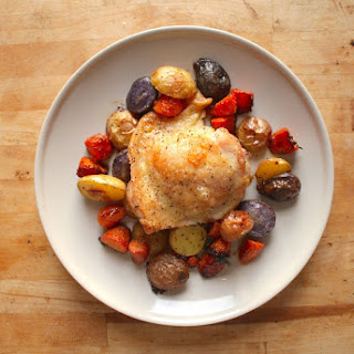 Baked Chicken Thighs with Root Vegetables.